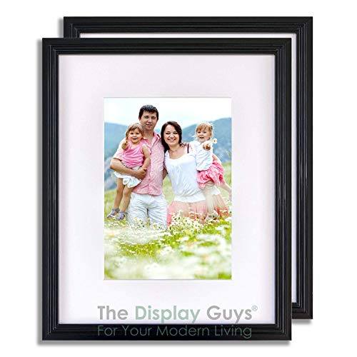 The Display Guys 2-Pack Black Art Deco16x20 Picture Frames w. Mat for 11x14 + Collage Mat, Plexiglass 5/8' Thin Border