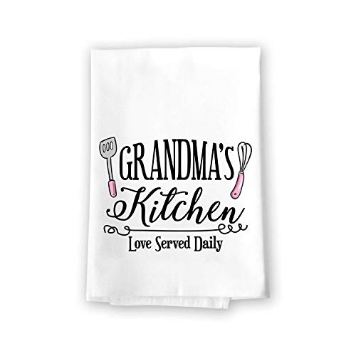 Honey Dew Gifts Home Decor, Grandma's Kitchen Love Served Daily Flour Sack Towel, 27 inch by 27 inch, 100% Cotton, Highly Absorbent, Multi-Purpose Towel