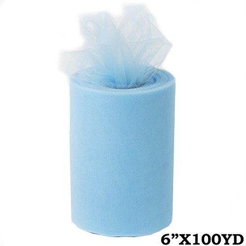 """BalsaCircle 6"""" x 300 feet Wedding Tulle Roll - Light Blue"""