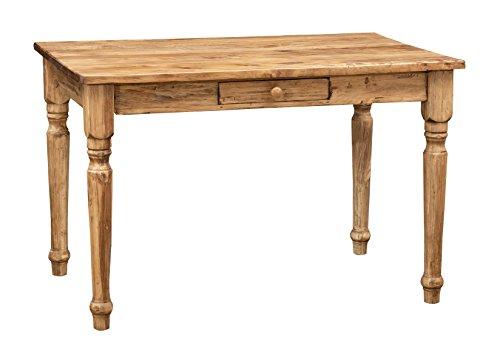 Biscottini Table carrée avec tiroir en Bois Massif de Tilleul - Style Country - Structure et Plan Naturel Vieilli L 120 x P 80 x H 80 cm