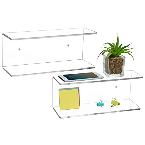 MyGift 2-Tier Clear Wall-Mounted Acrylic Display Shelves/Kitchen &...