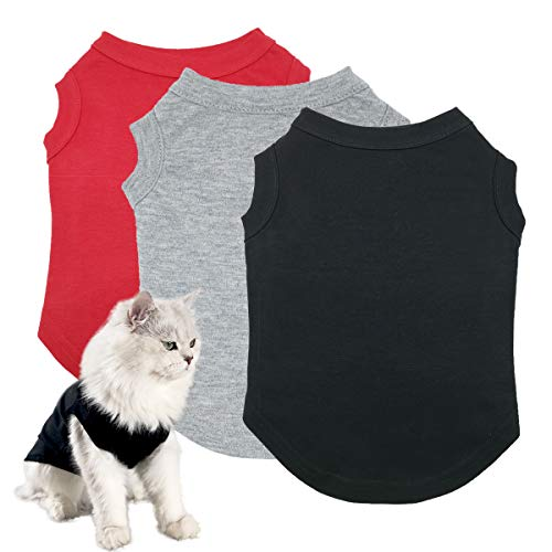 Dog Shirts Pet Clothes Blank Clothing, 3pcs Puppy Vest T-Shirts Cat Apparel Vests Cotton Doggy Shirt Soft and Breathable Outfits for Small Extra Small Medium Large Extra Large Dogs