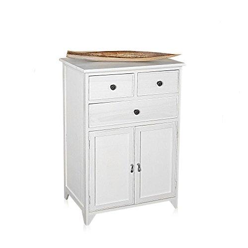Melko Sideboard 2-türig weiß Schrank Anrichte Kleiderschrank Mehrzweckschrank Holz Nostalgie Antik Shabby Chic