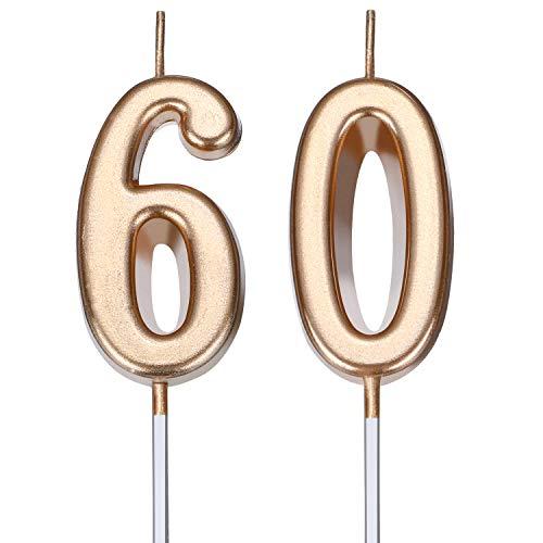 BBTO Candele di Compleanno 60 ° Numero Candele di Torta Numero Candele Decorazione di Felice Compleanno Torta Topper per Compleanno Nozze Anniversario Celebrazione Bomboniera (Champagne Oro)