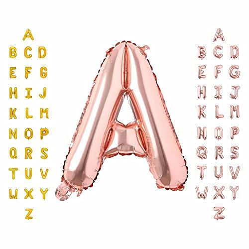 MAXEE Ballon en forme de lettres de l'alphabet - Grande rose - En aluminium - Pour décoration de mariage, anniversaire, anniversaire - A 3 en rose