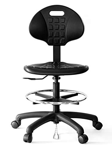 CHAIR MASTER Drafting Stool - ESD Anti Static Ergonomic Polyurethane Chair. Seat Ht Adj. (23'-33') 20' Adj. Footring Heavy Duty Easy to Clean. Designed for Laboratory and Cleanroom environments.