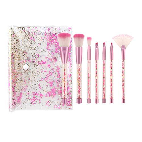 Lurrose 7Pcs Pinceau de Maquillage Ensemble Cristal Clair Poignée Premium Fond de Teint Synthétique Poudre Anti-Cernes Ombres à Paupières Maquillage Pinceau Kit avec Sac (Rose Blanc Fibre Paillettes)