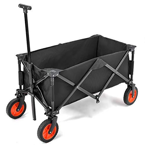 Flieks Bollerwagen Faltbar Handwagen, Transportwagen Klappbar Gartenwagen 360 ¡ã drehbar Picknickwagen Strandwagen belastbar bis 150kg (Schwarz_A)