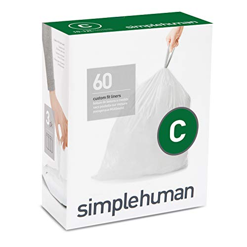 Price comparison product image simplehuman Code C Custom Fit Drawstring Trash Bags,  60 Liners,  White