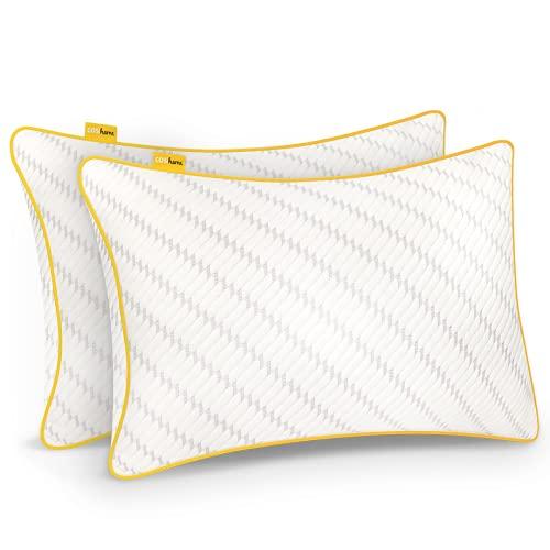 Cosi Home Almohada Viscoelástica Premium 71 x 45 cm Firmeza Ajustable, Transpirable con Funda de Bambú Extraíble y Lavable, Alivia tensión de Cuello y Cervical - Pack de 2