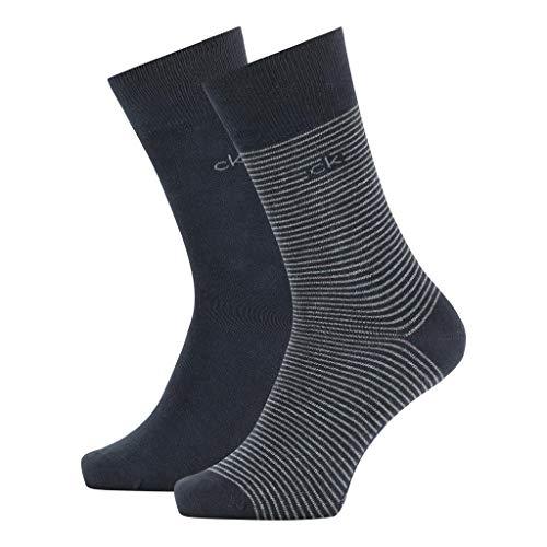 Calvin Klein Socks Mens Crew 2p fine Striped Stanley Socks, navy, 43/46
