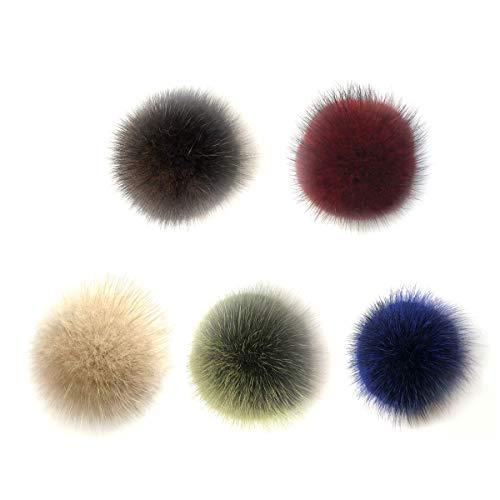 VOSAREA Fellbommel Faux Fuchspelz Flauschigen Pompom Ball für DIY Schlüsselanhänger Tasche Deko 5.5cm 5 Stück (Mischfarbe)