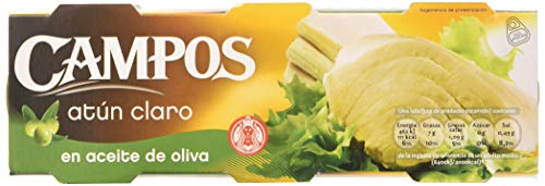 Campos, Conserva de atún claro en aceite de oliva - pack de 3 latas de 80 g