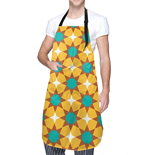 Mandala Retro Patrón de Azulejos de cerámica Unisex Cocina Ropa para el hogar Delantales duraderos con Cuello Ajustable para cocinar Jardinería Hornear