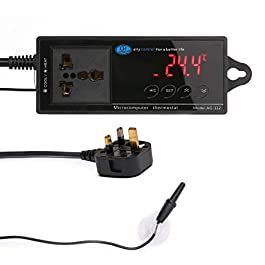 Womdee Reptile Terrarium Thermostat Controller Digital Temperature Controller Outlet Thermostat with Suction Cup 1100W 220V