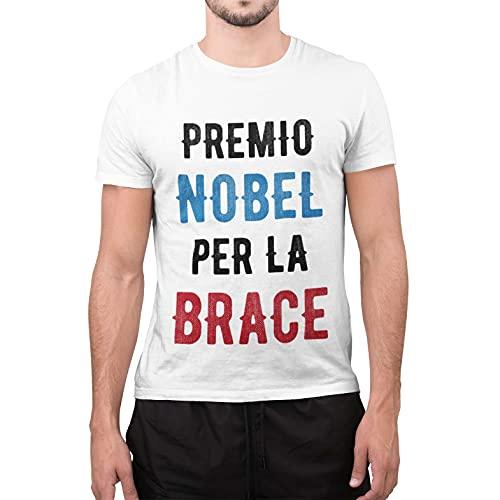 CHEMAGLIETTE! Maglietta Uomo T-Shirt Divertente con Stampa Ironica Premio Nobel per La Brace Tuned, Colore: Bianco, Taglia: L