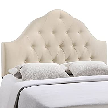 Modway Sovereign Upholstered Tufted Button Fabric Headboard Queen Size In Ivory