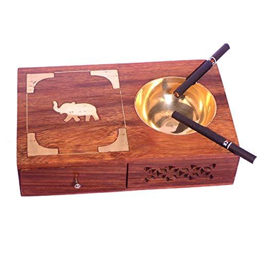 WILLART hout handgemaakte sheesham en messing container gouden olifant ontwerp houten handgemaakte asbak met sigarettenhouder/doos/koffer voor thuis/kantoor/Car