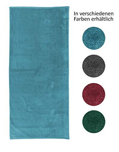 jilda-tex Uni-Strandtuch 100% Bio-Baumwolle 80x180 cm Badetuch Strandlaken Handtuch (Petrol)