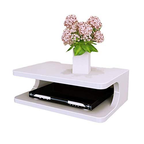 Praktische zwevende plank, houten aan de muur gemonteerde tv-kast Plank TV-console Routerplank DVD-settopbox Telefoonopslagrek (kleur: wit)