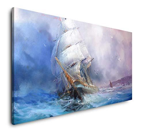Paul Sinus Art Gemälde mit Segelschiff 120x 60cm Panorama Leinwand Bild XXL Format Wandbilder Wohnzimmer Wohnung Deko Kunstdrucke