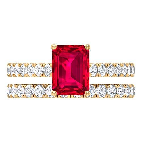 Juego de anillos nupciales de 2,75 quilates con rubí y moissanita creados (rubí creado con corte octágono de 6 x 8 mm), 14K Oro amarillo, Size:EU 55