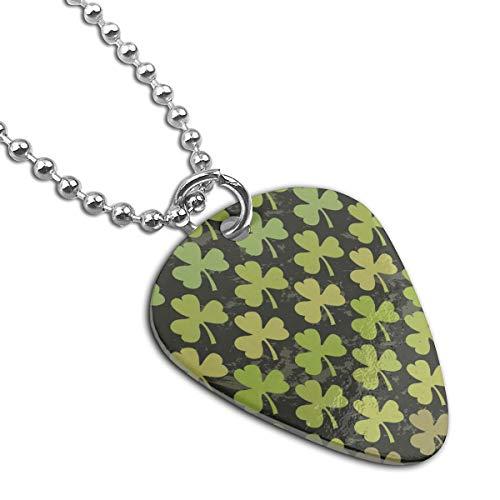 WAY.MAY Green Shamrock Pattern Guitar Pick Necklace Pendant Dog Tag Pet Card Keychain