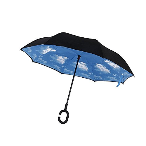 Price comparison product image C Shape Handle, Double Layer Wind Proof, UV Proof Reverse Folding Inverted Umbrella Travel Umbrella with Carrying Bag (Sky Blue)