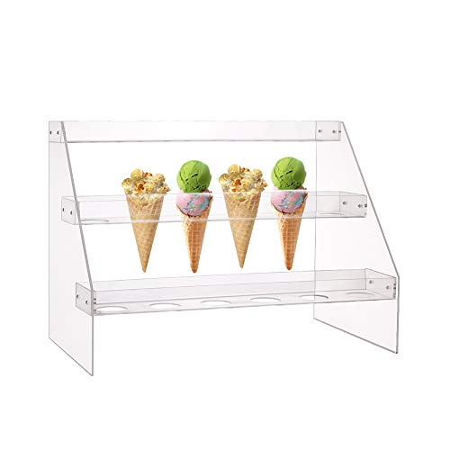 Fivtyily Cone Display Stand Rack Clear Acrylic Food Ice Cream Cone Serving Holder for Buffets Party (3 Layer, 18 Hole)