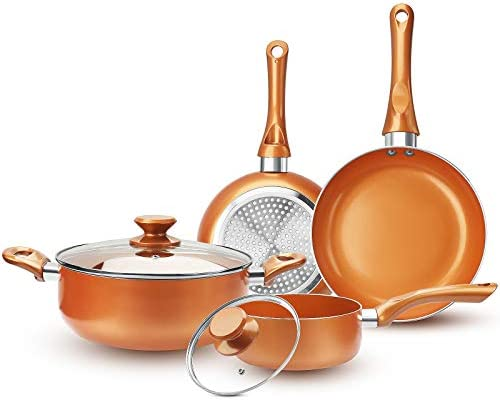 FRUITEAM 6 piece Nonstick Kitchen Cookware Set Ceramic Coating Cooking Pot and Pans Set Stock product image