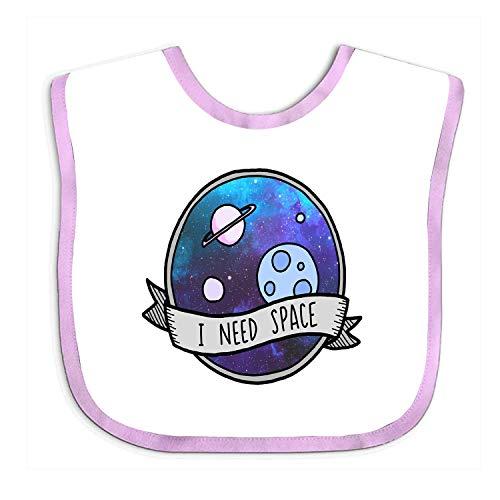 Voxpkrs Soft Baby Bib,I Need Space Bibs Snap, Baby Gift White