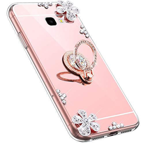MoreChioce kompatibel mit Samsung Galaxy A7 2017 Hülle,kompatibel mit Galaxy A7 2017 Handyhülle,Bling Glitzer Spiegel Silikon Diamant Rosa Gold Blume Schutzhülle Crystal Bumper mit Ständer