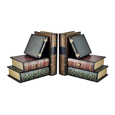 Bellaa Classic Wooden Book Bookends Library with Hidden Drawers