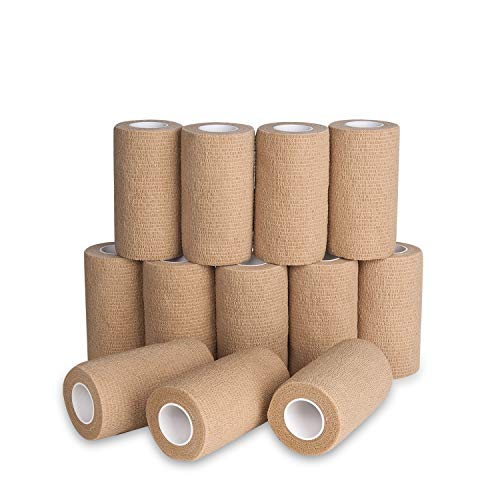 Self Adherent Cohesive Bandages Wrap 4' x 5 Yards, 12 Rolls, Medical Tape for Skin, Elastic Adhesive Tape Breathable for Stretch Athletic,First Aid (Skin, 12pcs-4 Inch)…