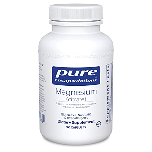 Pure Encapsulations Magnesium (Citrate)   Supplement for Constipation, Stress Relief, Sleep, Heart Health, Nerves, Muscles, and Metabolism*   90 Capsules