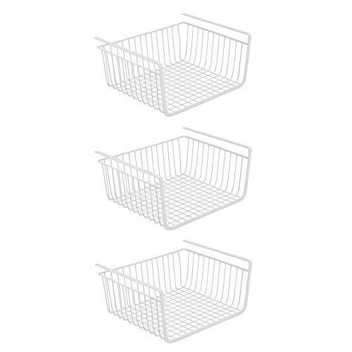 3 PACK Under Shelf Basket Kitchen Cabinet Organizer Storage, Slides Under Wire Shelves for Counter Pantry Desk Bookshelf, Easy to Install-White