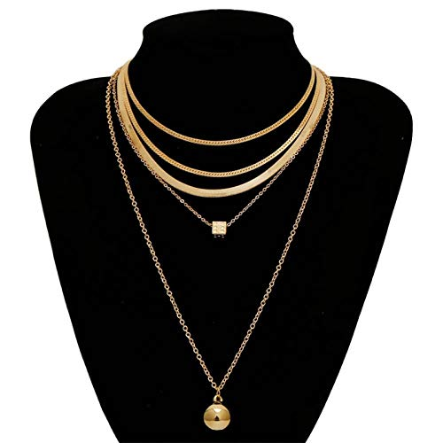 TFGUOqun Fashion 3 pieces/set punk multilayer golden snake chain necklace necklace small ball square metal pendant necklace jewelry For feminine decoration (Metal Color : JS00386)