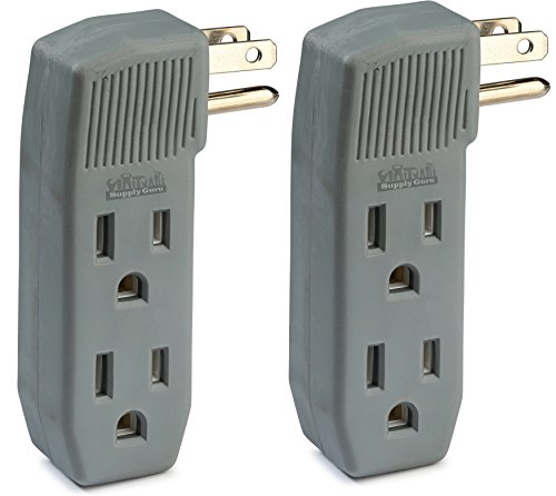 2-Pack 3-Outlet Tap Wall Adapter, Vertical Side-Access, Ac Power Adapter, Multi-Plug for Charging Station, Electronic Video Game, TV, Computer, and Appliances in Kitchen and Household, Color Gray.