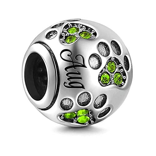 Pandora 925 Colgante de plata esterlina Diy Color plata Charm de piedra natal Ajuste original mm Pulsera y brazalete Fabricación de joyería de moda para mujeres Agosto