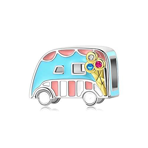 Colgante De Plata De Ley 925 con Esmalte Colorido para Helados Van Car, para Pulsera Original, Brazalete con Cuentas, Regalo para Mujer, Fabricación De Joyas
