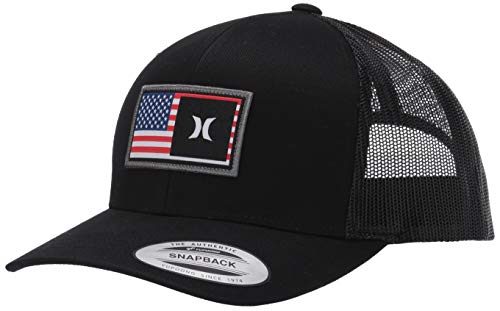 Hurley Men's Destination Curved Bill Trucker Baseball Cap Hat, Black/Black (USA), One Size