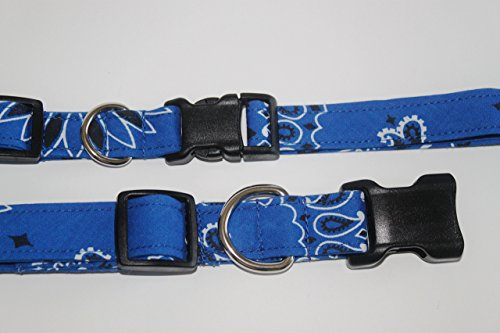 Dog Collar, Handmade using actual Bandanas, Royal, Large