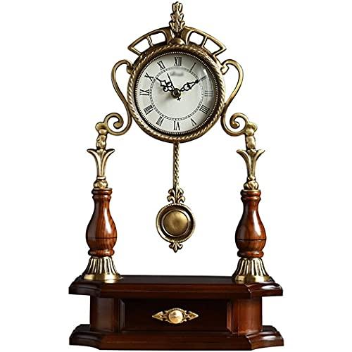 LITINGT Relojes de repisa Reloj de Escritorio de péndulo Decoración de Cuarzo Retro Sala de Estar con Pilas, Sala de Estudio, Entrada, Oficina, decoración del hogar Reloj Regalo de inauguración de l