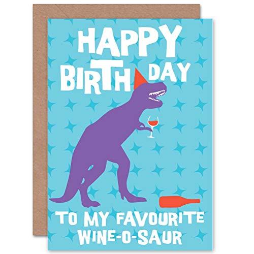 Wee Blue Coo Verjaardag Gelukkig Plezier Dinosaur Alcohol Wijn-o-saur Gift Gesealde wenskaart Plus Envelop Blank binnen