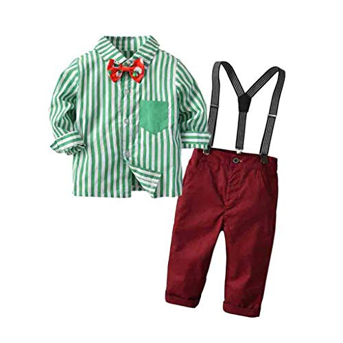 Shan-S Toddler Kid Baby Boys Christmas Outfit,Adorable Gentleman Bow Tie Stripe Long Sleeve Shirt+Bib Pants Gentleman 2-Piece Clothes Suit Set