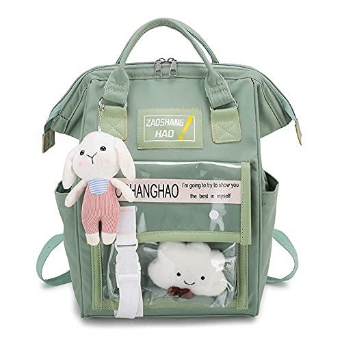 bvhg Mochila Kawaii, linda mochila de conejo, suministros escolares Kawaii, mochila para niñas kawaii rosa para la escuela, bolsa para ordenador portátil, mochila casual para niñas