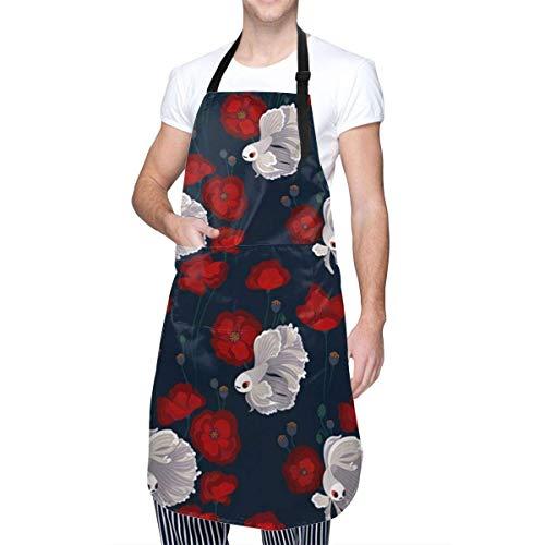 Lawenp Bettas and Poppies Küchenschürzen für Frauen Wasserdicht mit großen Taschen Verstellbare süße Schürzen Wasserdichter Grill für Männer