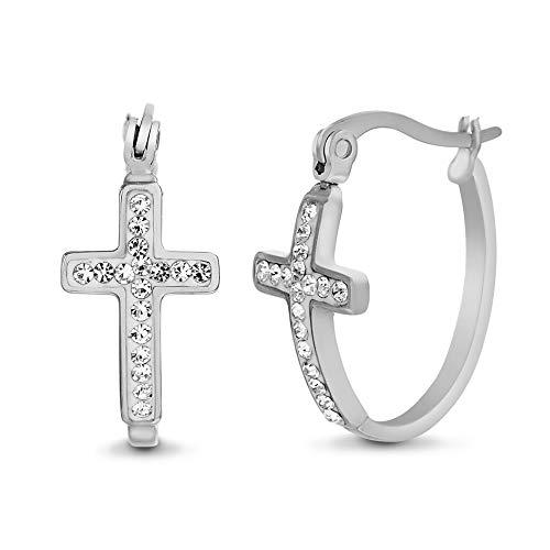 MY BIBLE 23mm Oval Stainless Steel Crystal Cross Hoop Earrings for Women (White)