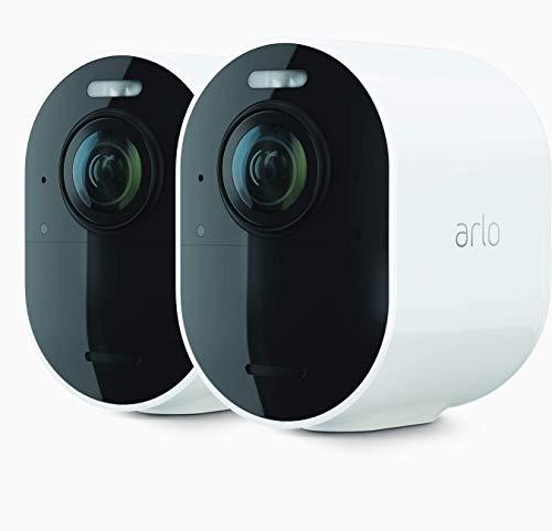 ArloUltra2 Spotlight WLAN Überwachungskamera, Kabellos, Innen / Aussen, 2er Set, 4K Video & HDR, Nachtsicht in Farbe, Bewegungsmelder, 6Monate Akku, 2-Wege-Audio, 180° Blickwinkel, VMS5240, Weiß