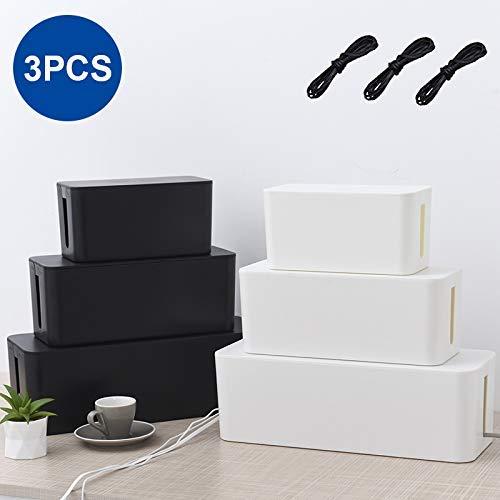 3 Stück Kabelbox Kabel Organizer Kabelkasten Set Kabelmanagement zum Verstauen von Steckdosenleisten Ladeadaptern Kabel Verstecken Schutz Sicherheit von Kindern und Haustieren (schwarz)